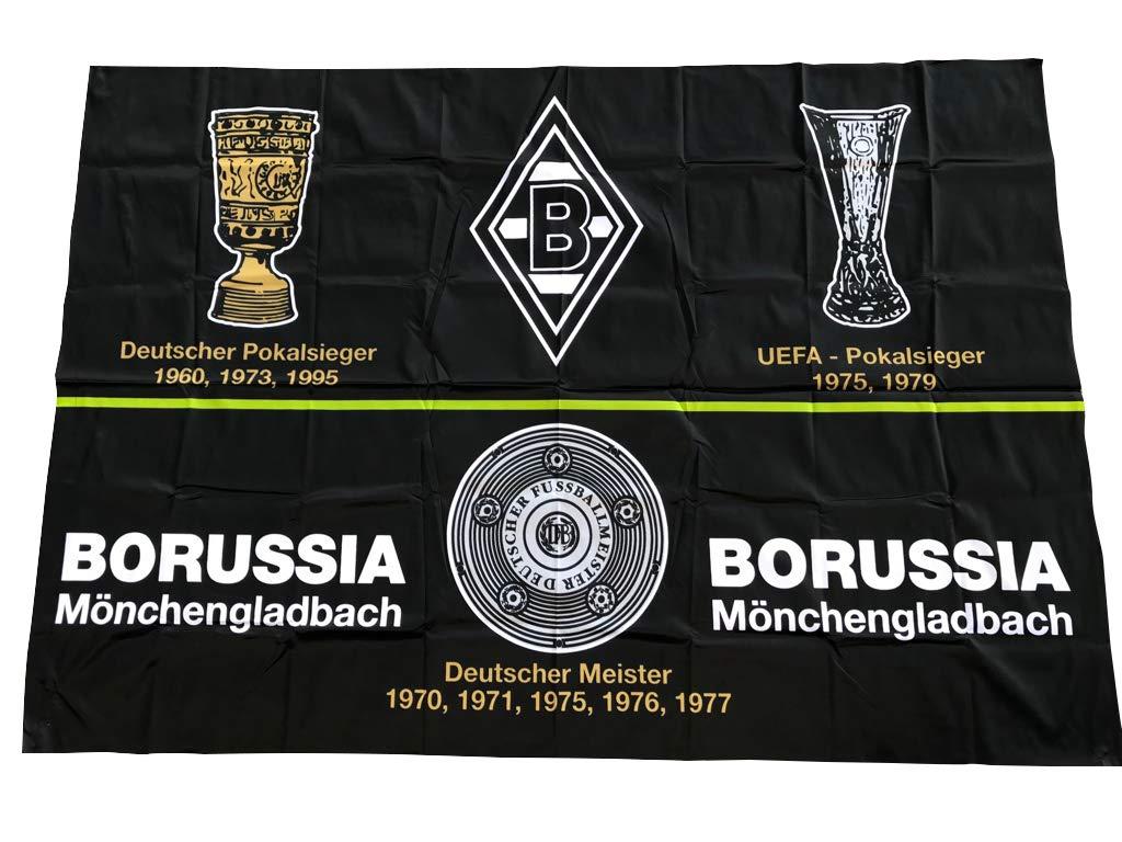 Schwenkfahne Borussia M/önchengladbach Erfolge 150cm x 100cm Flagge Mini Fohlen-Fahne ohne Holzstab Lizenzprodukt