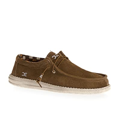 Hey Dude Shoes Mens Wally Winter Suede Nut