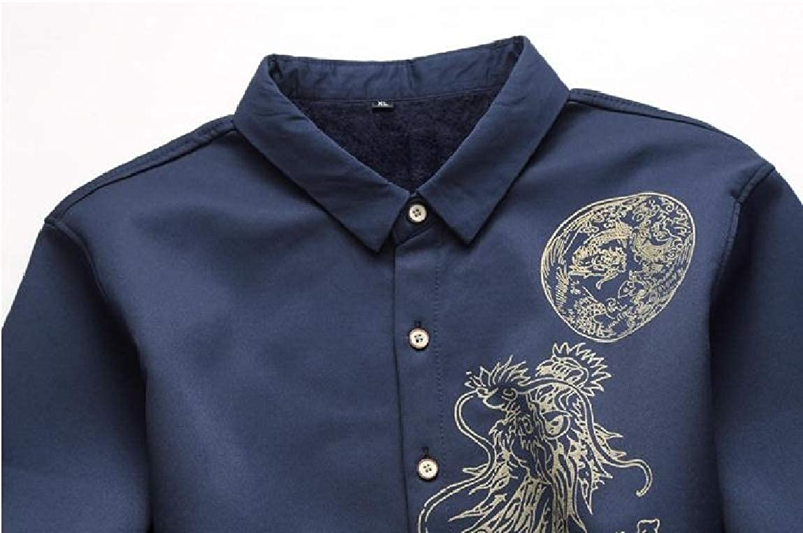 Mfasica Mens Printing Plus Size Plus Velvet Long-Sleeve Thick Chinese Style Top Shirt