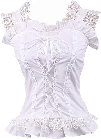 an*tai*na* Blanca Algodón Volantes Encaje Victoriana Sleeveless Sexy Lolita Camisa Blusa de Mujer