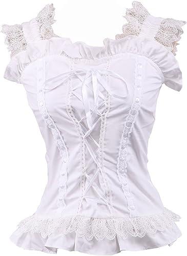 an*tai*na* Blanca Algodón Volantes Encaje Victoriana Sleeveless Sexy Lolita Camisa Blusa de Mujer: Amazon.es: Ropa y accesorios