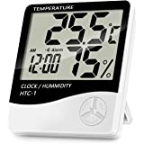 Lanhiem Indoor Digital Thermometer Hygrometer, Accurate Room Temperature Gauge Humidity Monitor with Alarm Clock - Easy to Read, Max / Min Records, LCD Display for Home Office Comfort