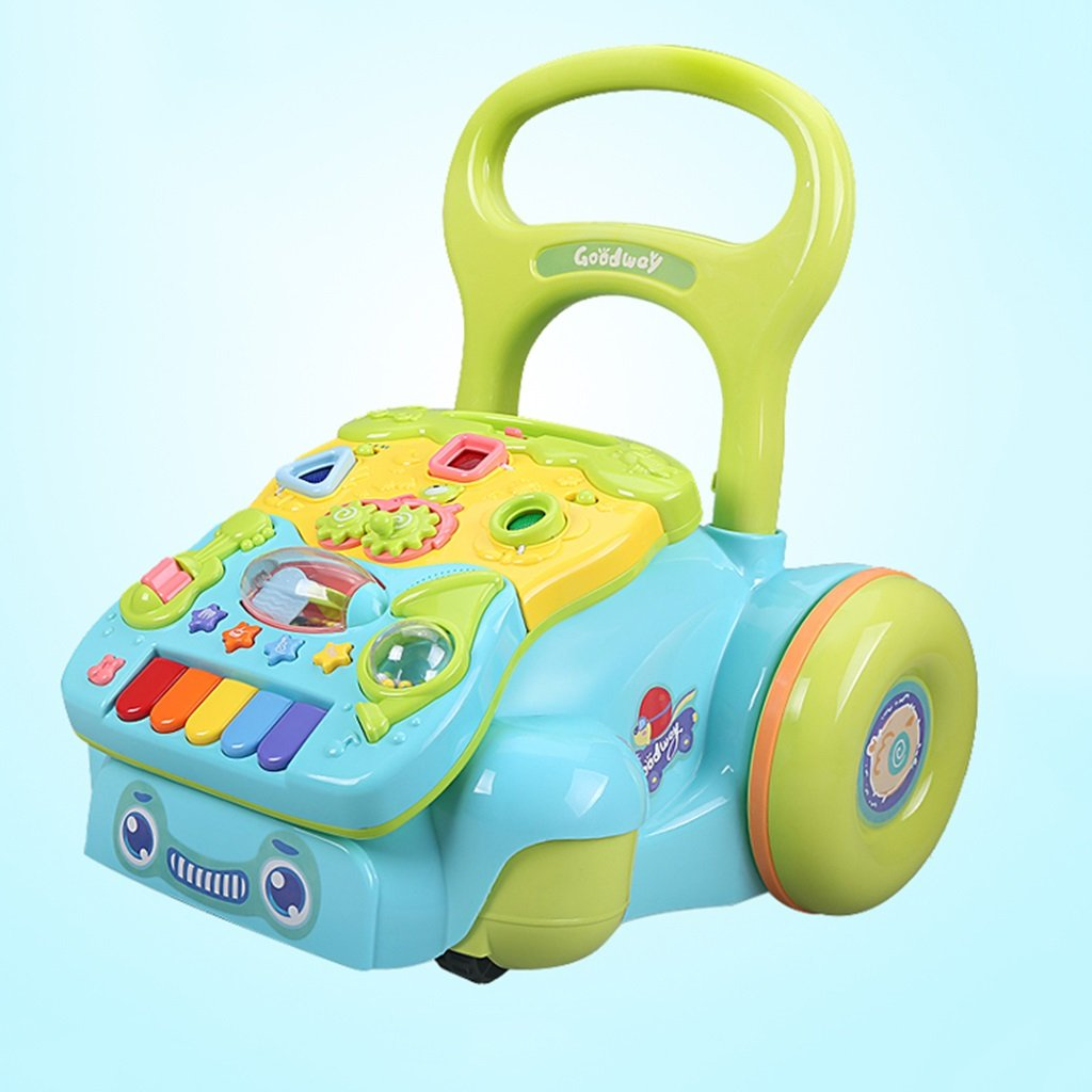 HAIZHEN マウンテンバイク ノンスリップショックアブソービングタイヤベビー多機能ウォーカー子供の音楽リムーバブルパネルトロリー6-7-18ヶ月赤ちゃんアンチロールオーバーウォーカー36.5 * 40 * 42センチメートル 新生児 B07DMMWNQJ 青 青