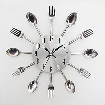 Liu Yu·casa creativa LIU-Cubertería de cocina de lujo Cuchara de cocina y horquilla Reloj de pared decorativo/astilla: Amazon.es: Hogar