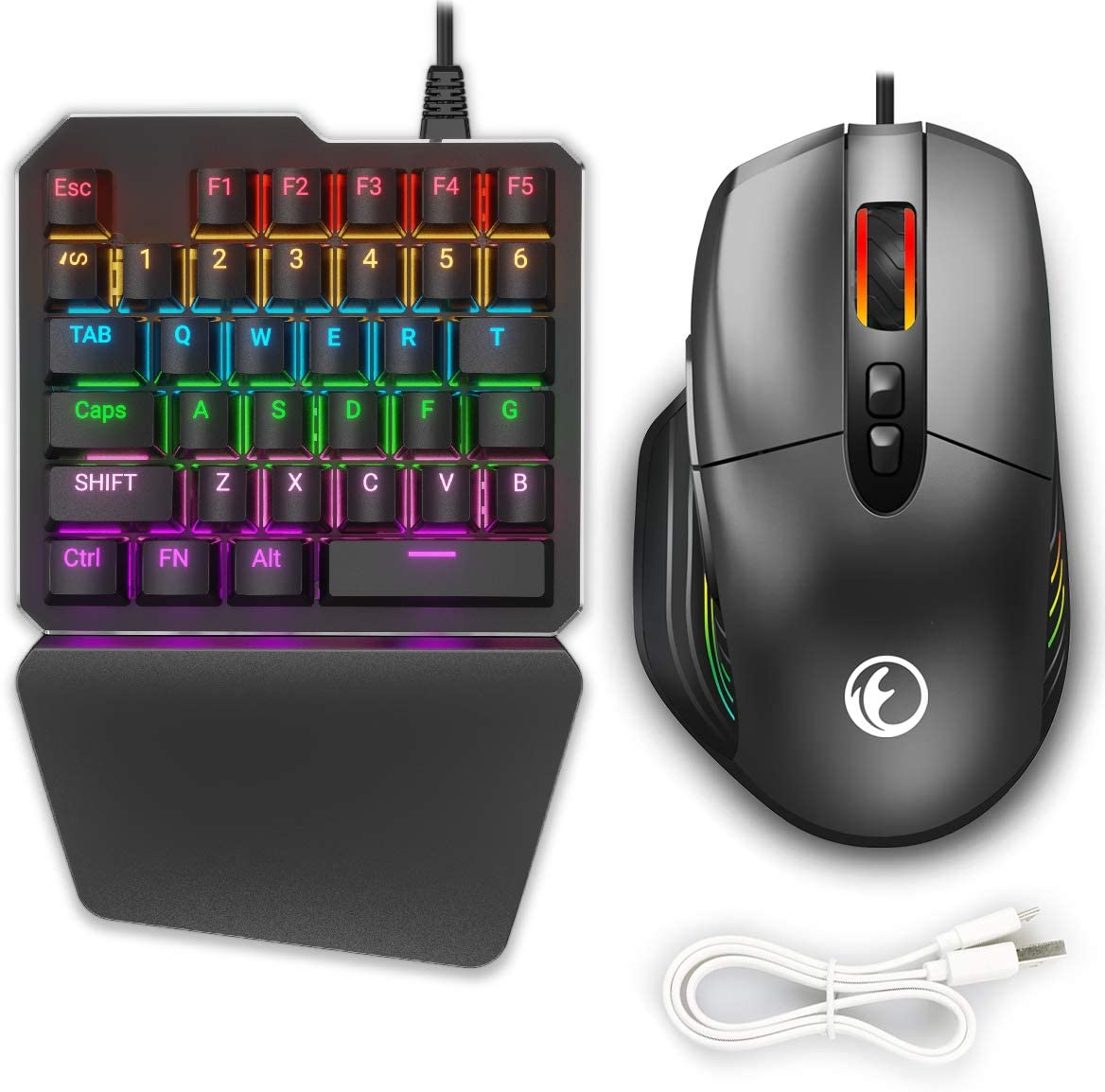 IFYOO KMAX1 Pro - Juego de teclado y ratón para juegos con cable para Xbox One, PS4, interruptor, PS3, PC (Windows/Linux) – [Incluye cable de ...