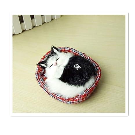 Gato en Cesta, 14 cm, Negro/Blanco, con voz, peluche,