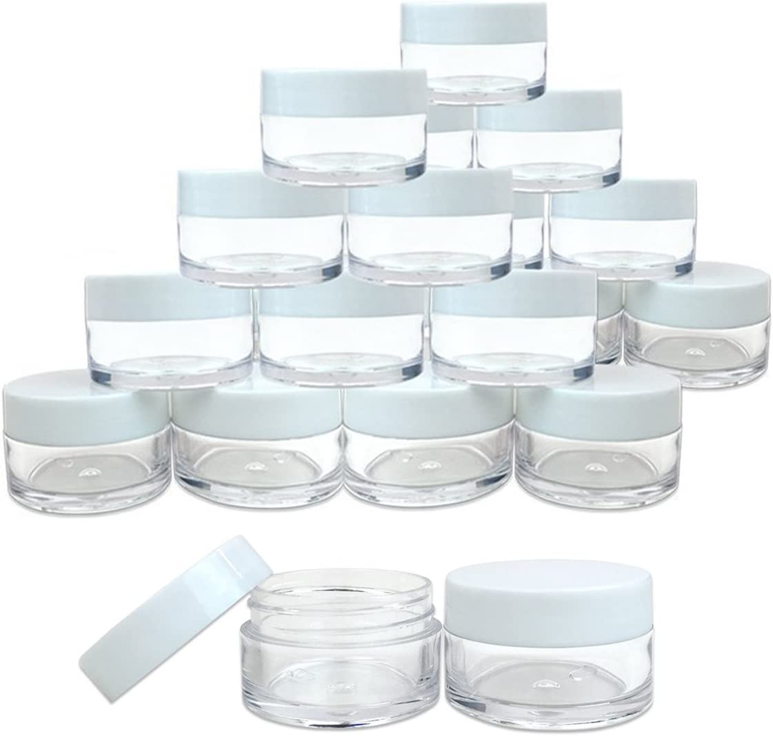 Beauticom 36 Pieces 20G/20ML Round Clear Jars with WHITE Lids for Lotion, Creams, Toners, Lip Balms, Makeup Samples - BPA Free