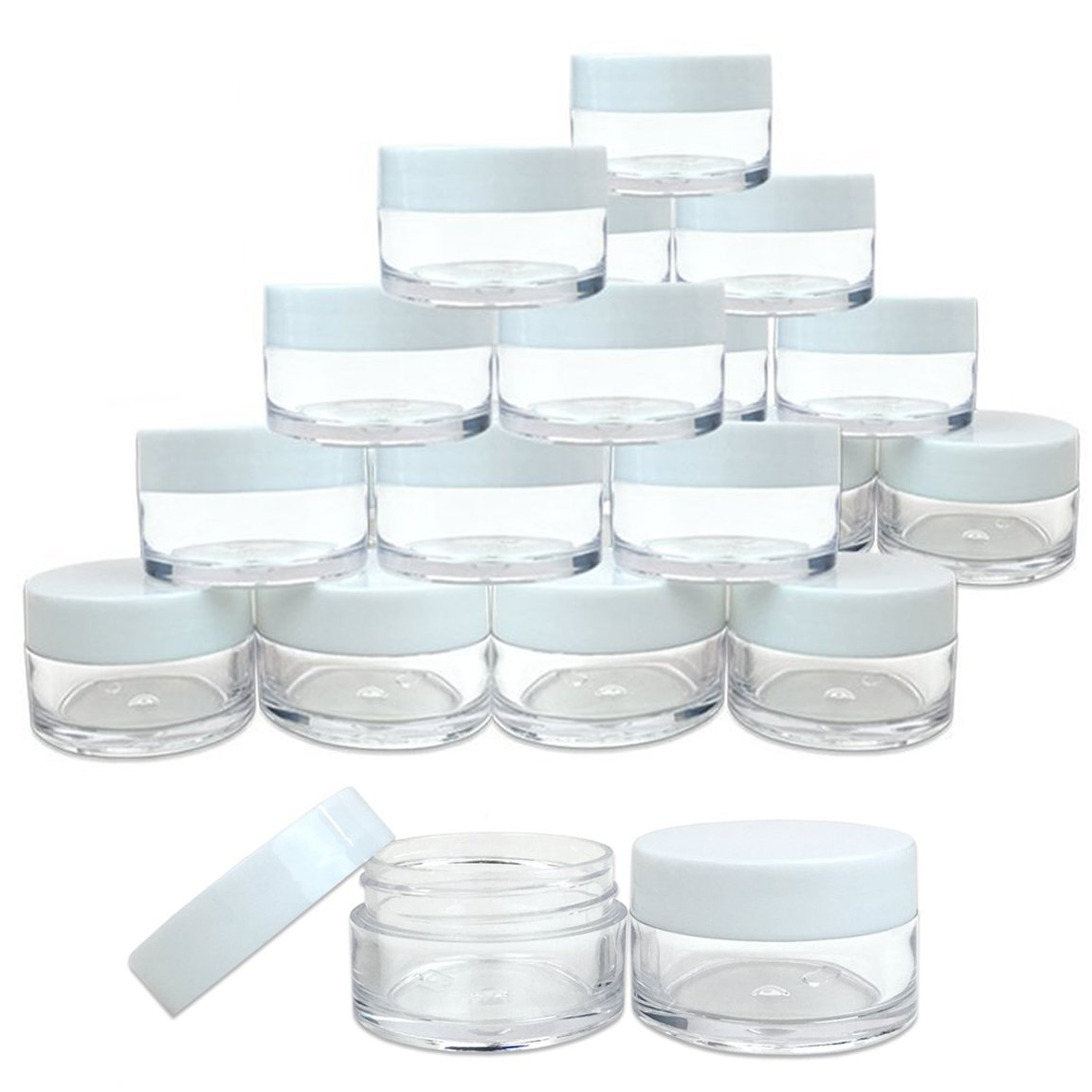 Beauticom 24 Pieces 20G 20ML Round Clear Jars with WHITE Lids for Lotion, Creams, Toners, Lip Balms, Makeup Samples – BPA Free