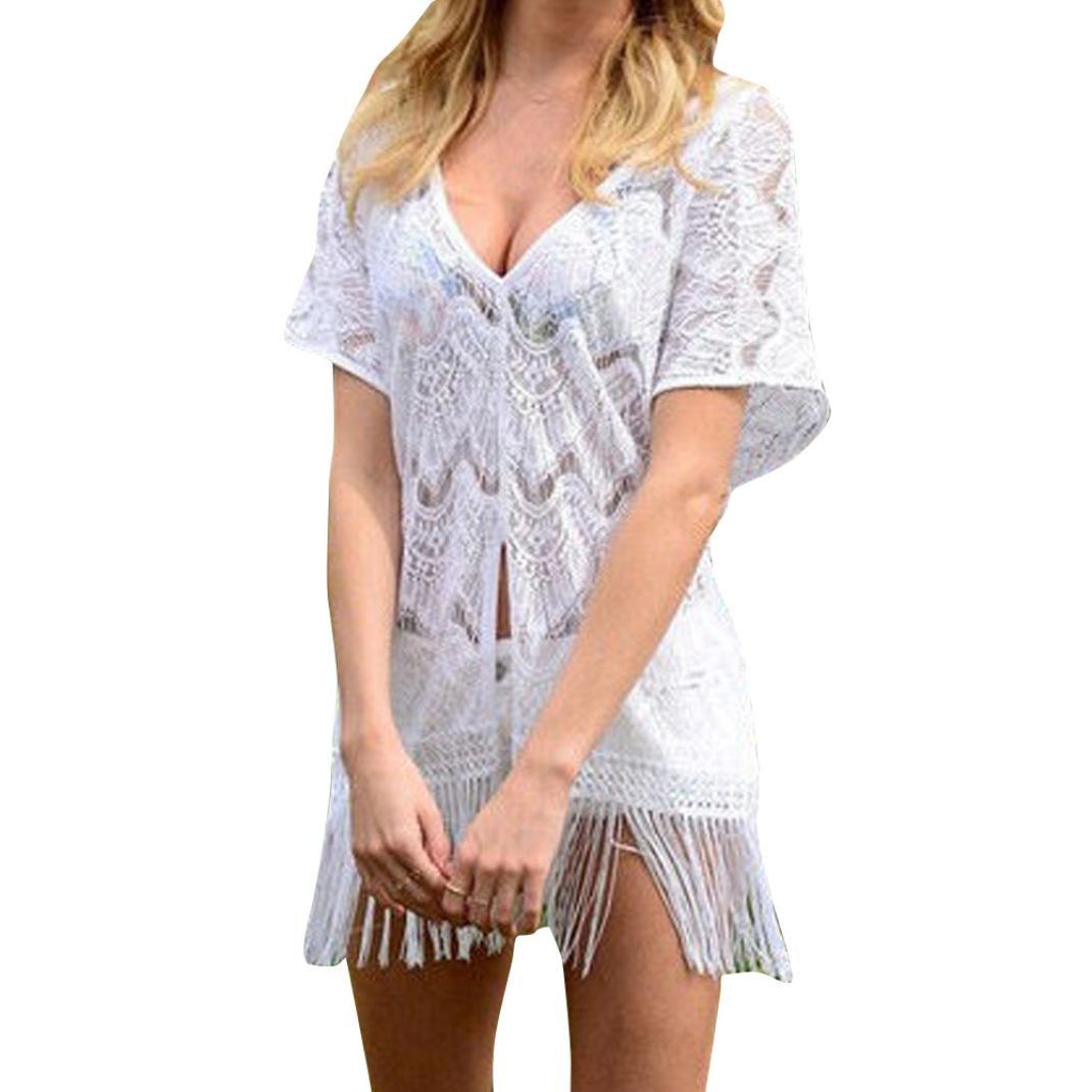 HLHN Damen Boho Schulterfreie Weben Quaste Einzigartig Bikini Cover up Sommerkleid Strandkleid