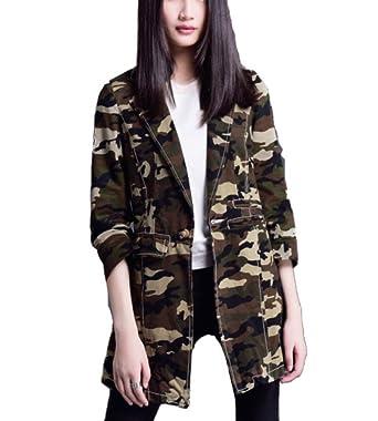 Herina, Women Long Sleeve Army Camo Camouflage Jacket Suit (S)