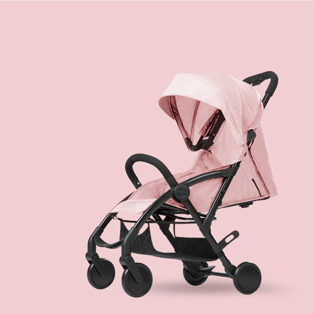 JIANXIN 赤ちゃんのベビーカー軽量折り畳み式赤ちゃん車リクライニングポータブルチャイルドミニ手押し車 (色 : Pink)   B07F7Y4KGG