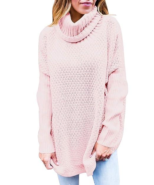 b4b7bfa87be Womens Turtleneck Sweaters Oversized Long Sleeve Chunky Knit Tunic Plain  Pullover Jumper Tops