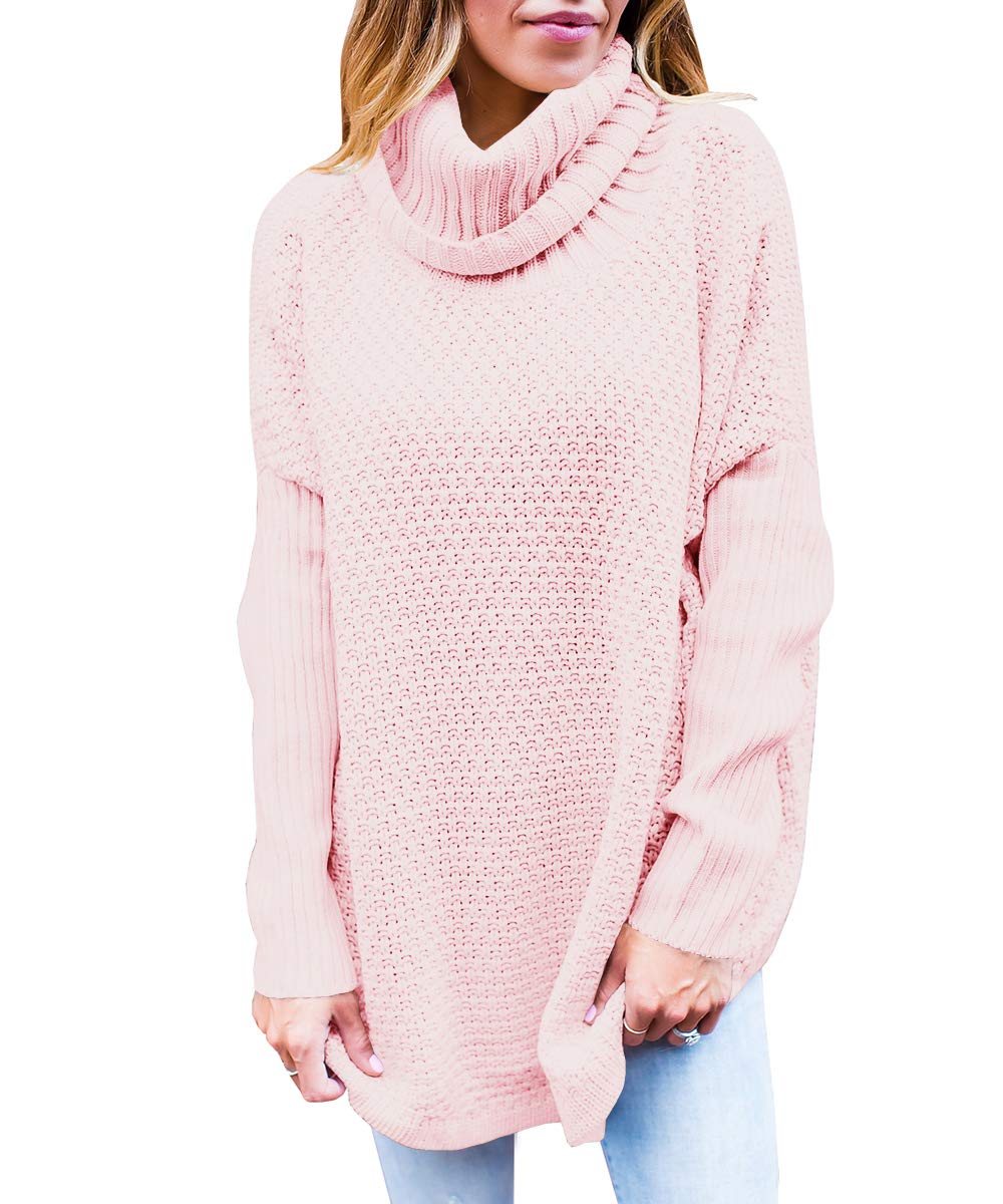 Farktop Womens Turtleneck Sweaters Oversized Long Sleeve Chunky Knit Tunic Plain Pullover Jumper Tops