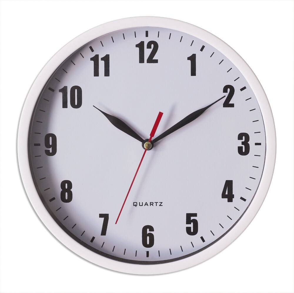 "8"" Silent Wall Clock Non-ticking Decor Digital Quartz Wall Clock Battery Operated Easy to Read Round Wall Clock(White)"