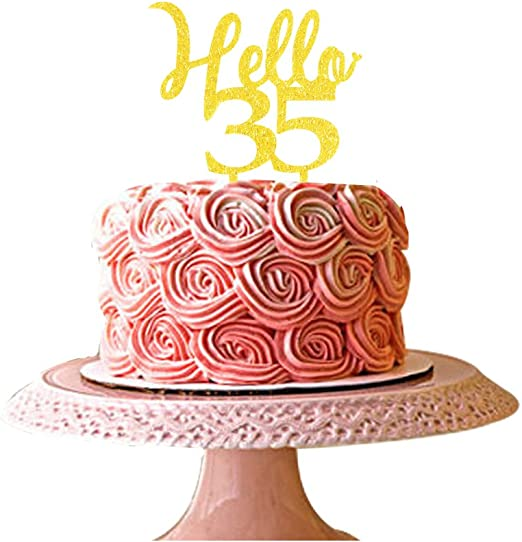 Peachy Amazon Com Hello 35 Cake Topper 35Th Birthday Party Decorations Personalised Birthday Cards Sponlily Jamesorg