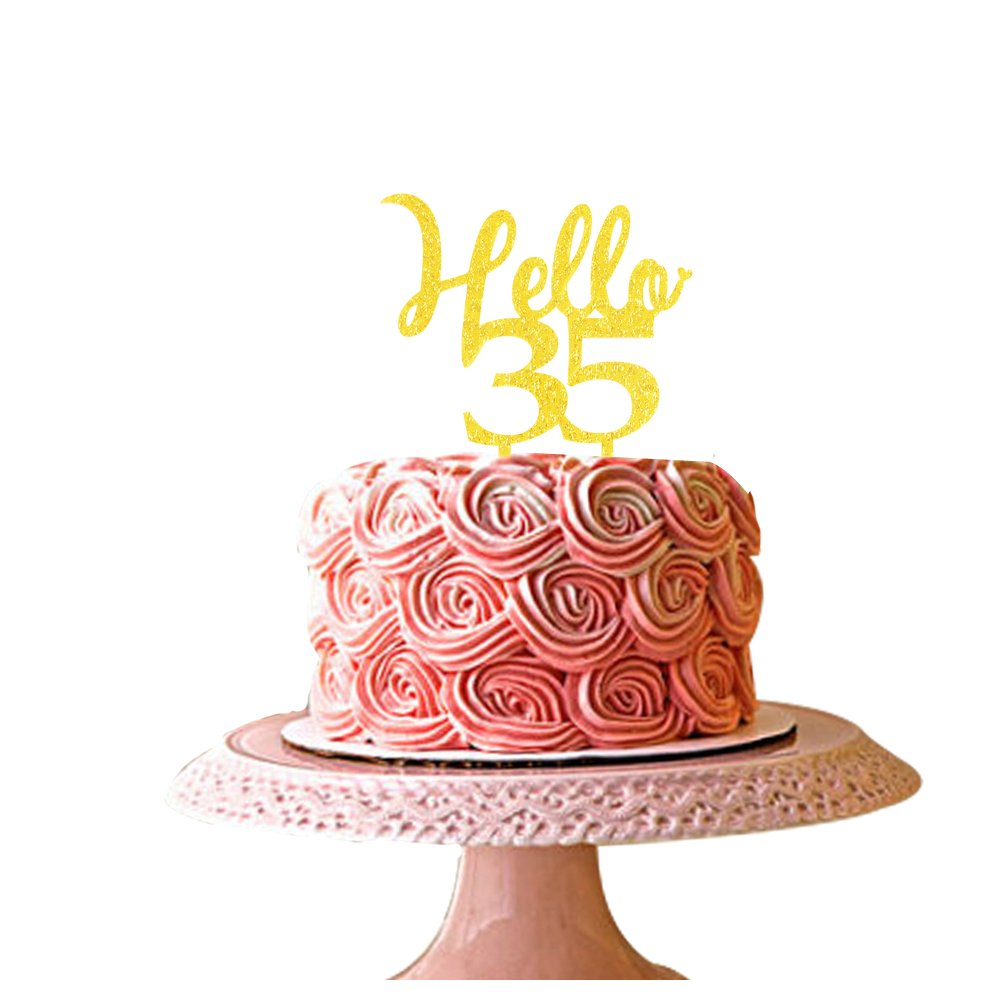Awesome Hello 35 Cake Topper 35Th Birthday Party Decorations Cake Topper Funny Birthday Cards Online Hetedamsfinfo