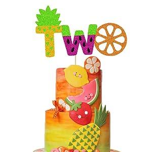 Twotti Frutti Cake Topper Summer Fruit 2nd Birthday Cake Decor Pineapple/Watermelon/Orange/Lemon/Strawberry/Cherry/Banana Fruit Themed Second Birthday Party Supplies Decorations