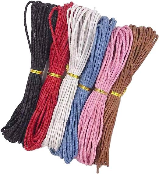 IPOTCH 6 Unids Hilo Cordón de de Algodón Encerado 2mm x 10m Color ...
