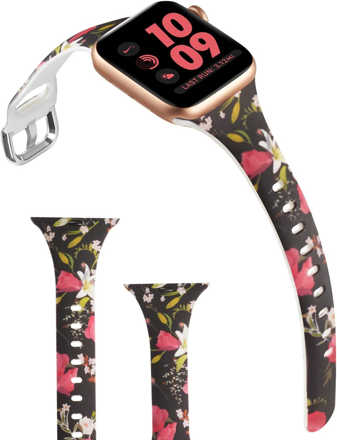 ACBEE Compatible with Apple Watch Band 38mm 40mm 42mm 44mm for Women Small Large, Slim Narrow Floral Bands for Apple Watch Series 5/Series 4/Series 3/Series 2/Series 1 (Flowering, 38mm/40mm)
