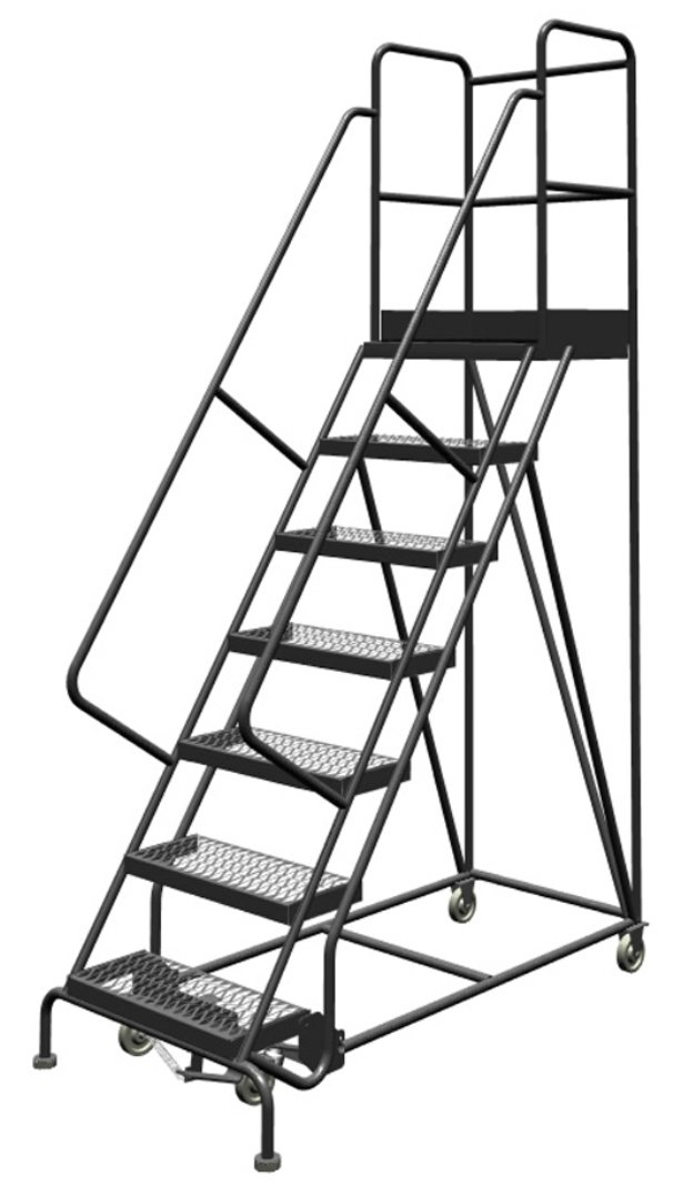 Tri-Arc KDSR107242-D2 7-Step 20'' Deep Top Steel Rolling Industrial & Warehouse Ladder with Handrails, 24'' Wide Grip Strut Tread