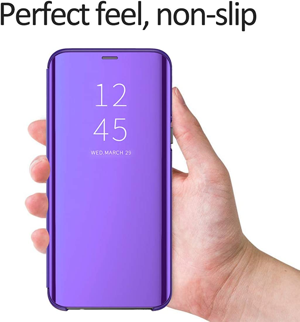Clear Samsung Galaxy A70 Case Mirror Ultra Slim View Flip Case Cover with Kickstand Case Cover Makeup Protective Case Cover