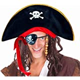 4 Pcs Pirate Costume Accessory Hat /& Earrings Beard Eye-patch