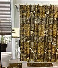 18pcs Bath Rug Set LEOPARD BROWN Bathroom Rug Shower Curtain Mat / Rings Towel Set