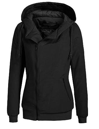 Pagacat Damen Sweatjacke, Kapuzejacke Hoodie Zip Hood Winddicht Warm mit Kapuze Tasche Winter Jacke