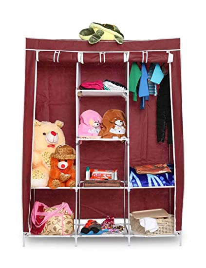 GTC Fabric 6+2 Layer Portable Collapsible Closet, Wine Red