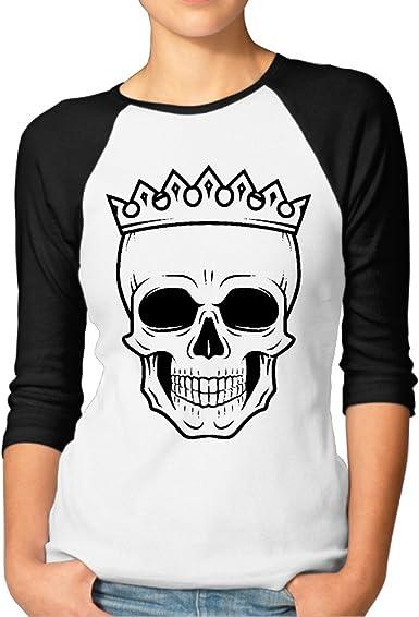 Para mujer Camisas de béisbol diseño de calavera rey corona: Amazon.es: Ropa y accesorios