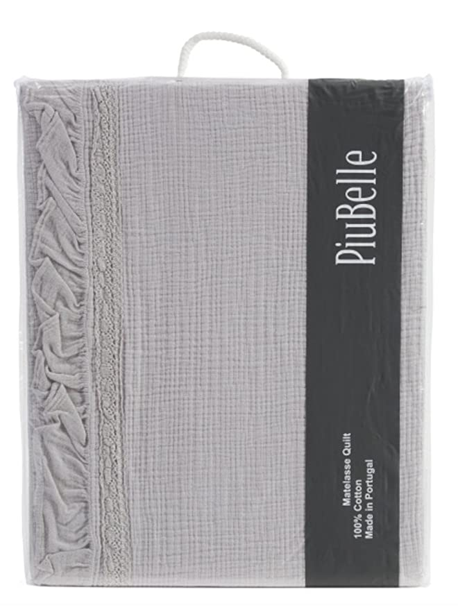 "Piu Belle Piubelle Francine Joana Great Textured Ribbon Matelasse Cotton Queen 96"" x 92"" Quilt Coverlet"