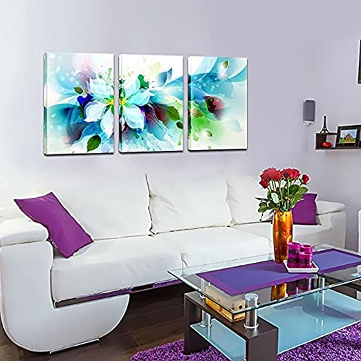 Canvas Set of 3 Abstract Blue Flower Wall Art 16inch Modern Home Decoration Canvas Artwork with Frame