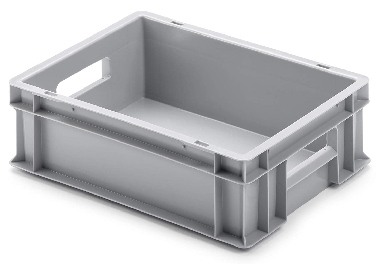 Euro-Stapelbox EB-412, 400x300x120 mm (LxBxH), grau ähnl. RAL7001, aus Polypropylen, lebensmittelecht, 2 Handgriffe, ca. 11 Liter Vol.