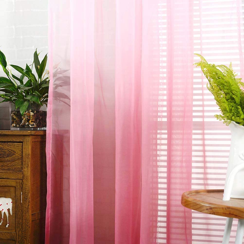 2 Panels YJBear Polyester Gradient Sheer Curtains for Living Room Rod Pocket Bedroom Voile Window Treatment Curtain Set,Purple,78.7 x 106