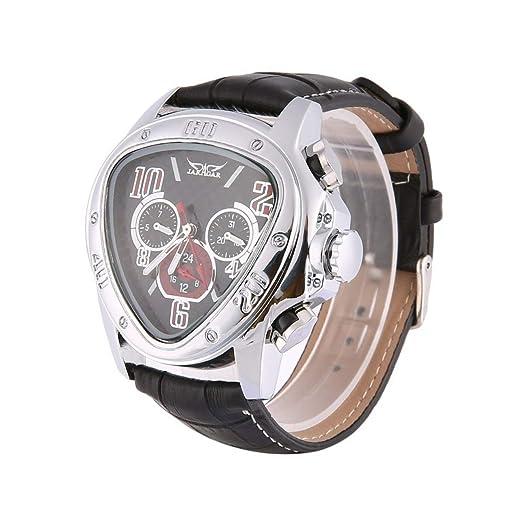Relojes de Pulsera mecánicos automáticos de Jaragar, Hombres Relojes de Pulsera de Cuero con Esfera Negra Triangular Relojes comerciales de Esqueleto de ...