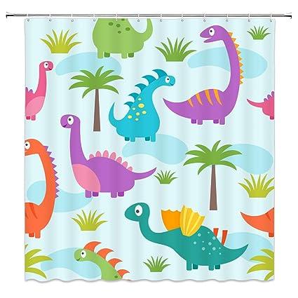 Amazon Feierman Cartoon Dinosaurs Shower Curtain Decor Colorful