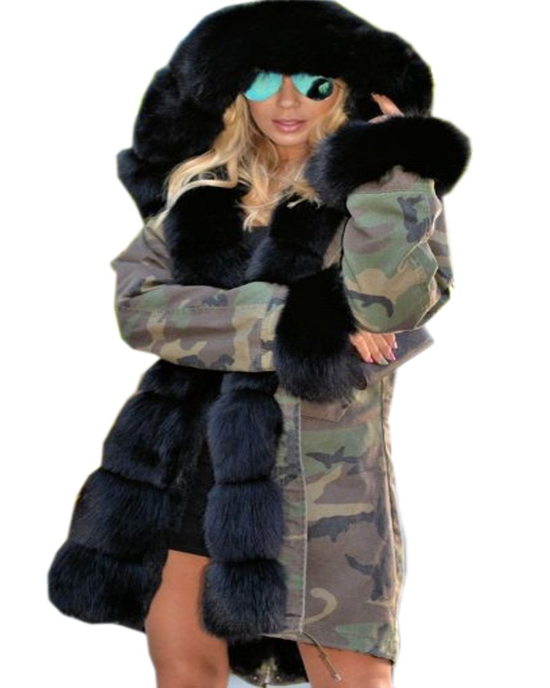 Roiii Thickened Dark Black Faux Fur Amry Green Camouflage Parka Women Hooded Long Winter Jacket Overcoat Plus Size S-3XL (Small, Black)