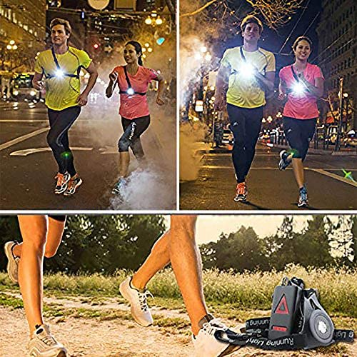 ALOVECO Outdoor Night Running Lights LED Chest Light Back Warning Light with Rechargeable Battery for Camping, Hiking, Running, Jogging, Outdoor Adventure (90° Adjustable Beam)