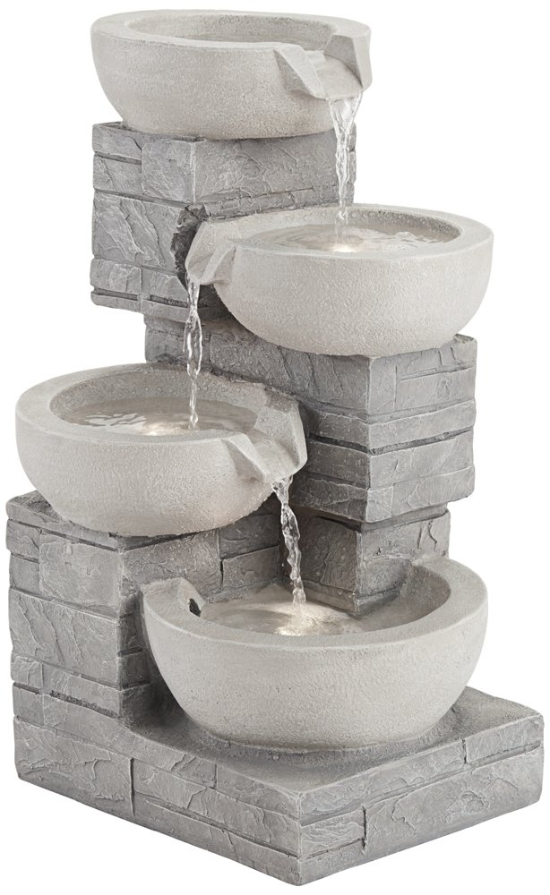 4-Bowl 22'' High Gray Stone Indoor/Outdoor LED Fountain