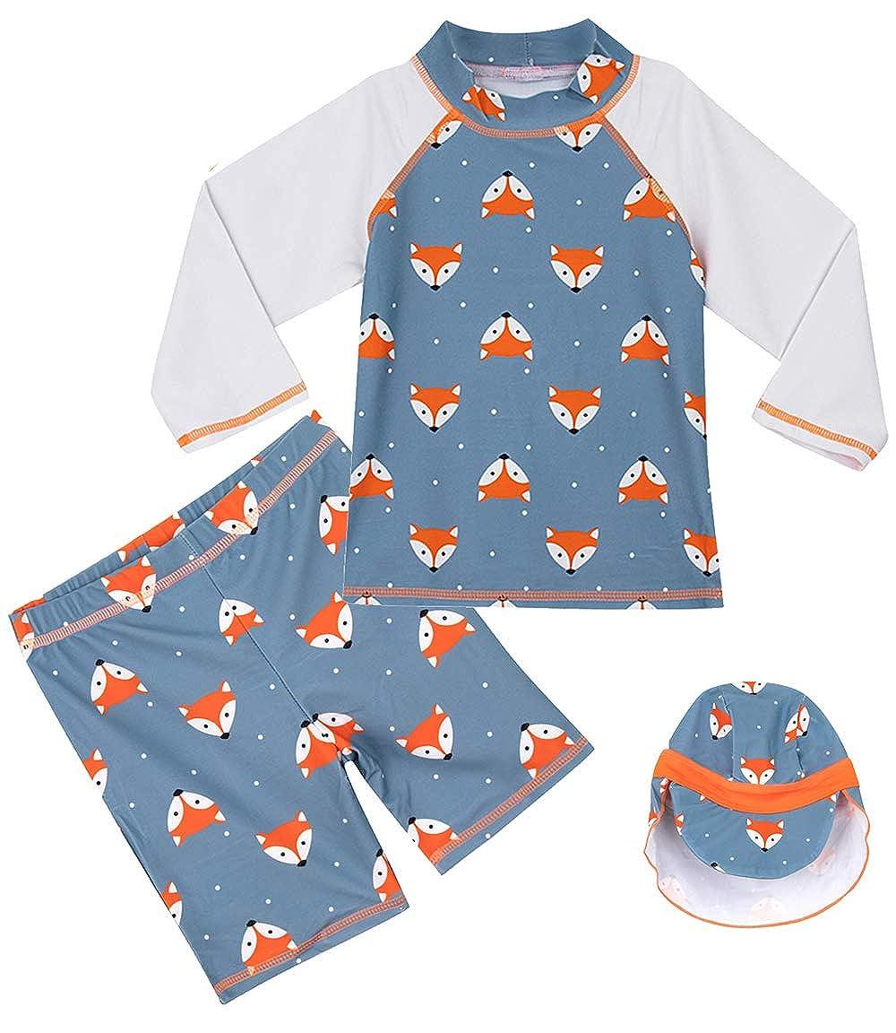 COSLAND Kids Boys Three Piece Swimwear Sets with Hat UPF 50+