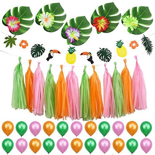 Simla Decor Summer Tropical Party Decorations Kit for Kids Birthday Baby Shower Beach Pool Luao Hawaiian Party Decor]()