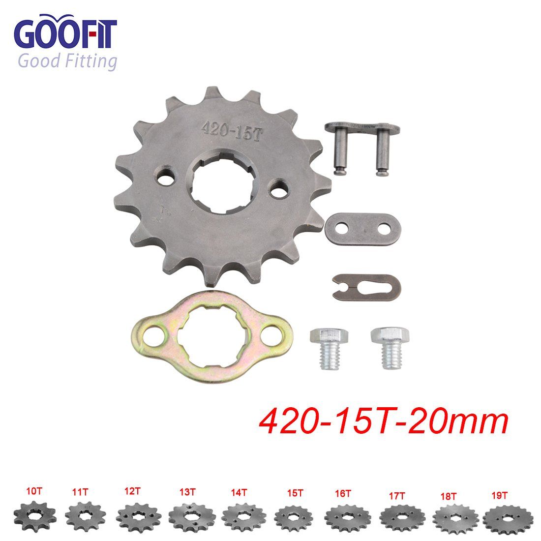 GOOFIT 420 17 20mm Tooth Front Engine motorcycle Sprocket Chain Retainer Plate LockerEngine For 50cc 70cc 90cc 110cc Motorcycle Dirt Bike ATV Quad