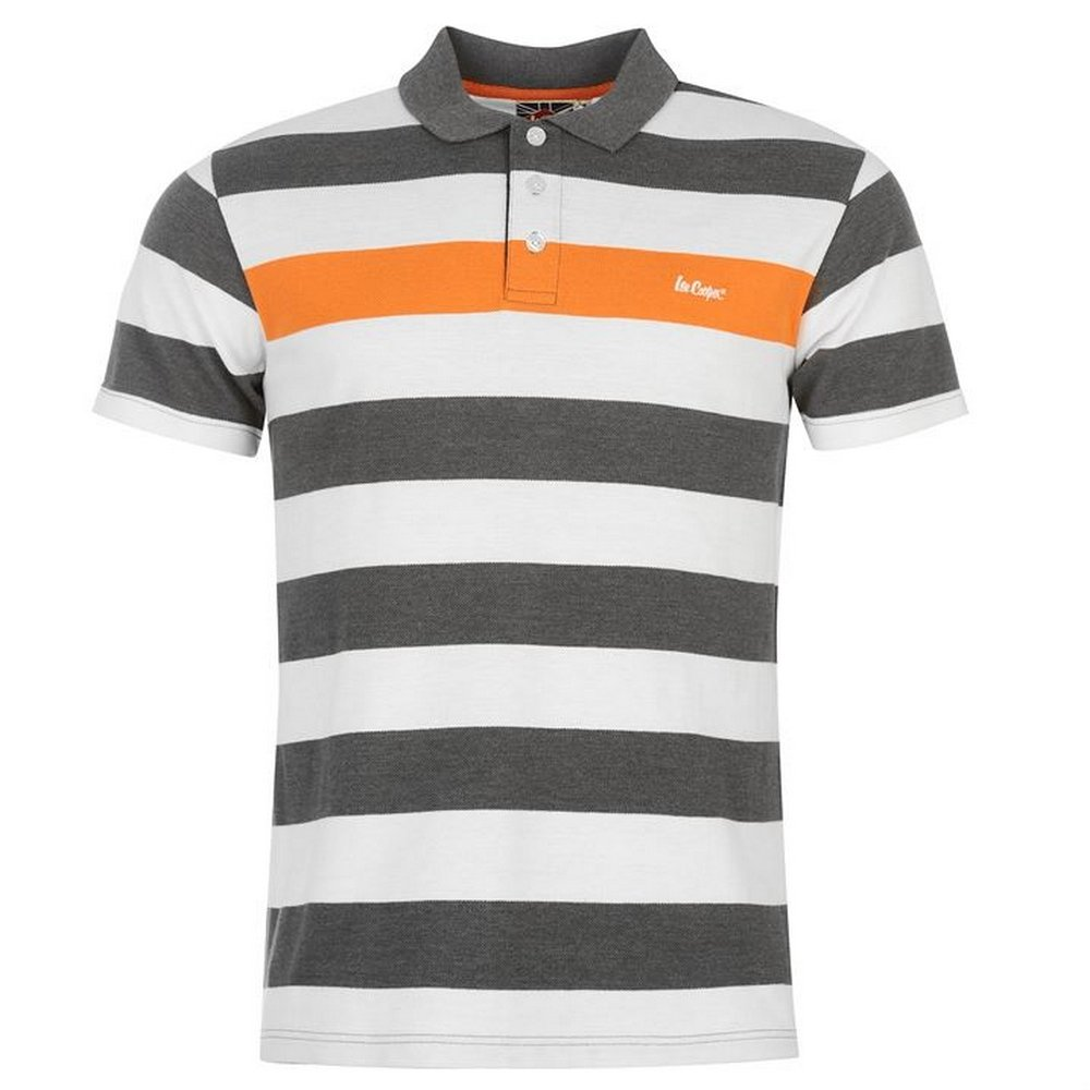 Lee Cooper - Polo - para Hombre Gris Foncé/Blanc/Orange S: Amazon ...
