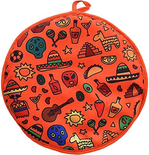 DOKKIA Tortilla Warmer 12 Inch Insulated Cloth Pouch - Microwavable Use Fabric bag to Keep Food Warm for up to One Hour (12 Inch, Sunburst Skull Fiesta)