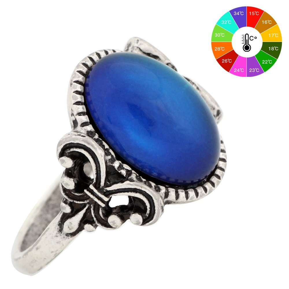 Gothic Flower Pattern Antique Sterling Silver Plating Oval Stone Color Change Mood Ring MJ-RS008 (8)