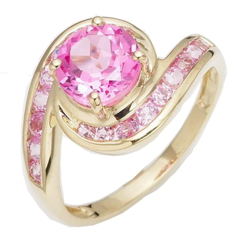 Amazon.com: Huanhuan Fashion Pink Sapphire CZ Yellow Gold Filled ...