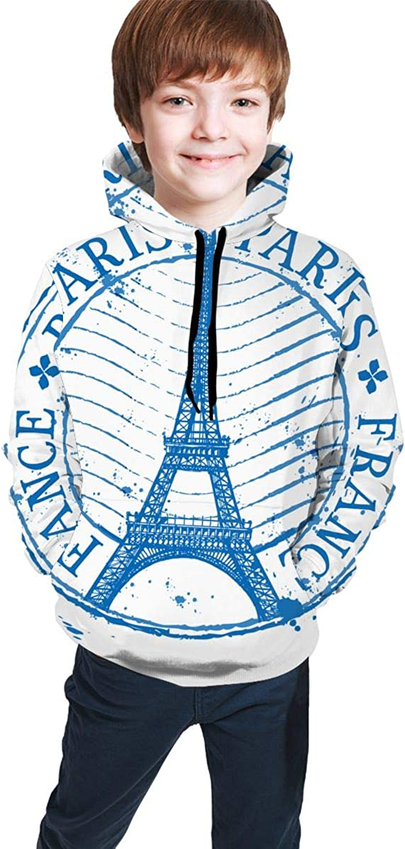 Shabby Stamp Or France Paris Men 3D Print Pullover Hoodie Sweatshirt with Front Pocket