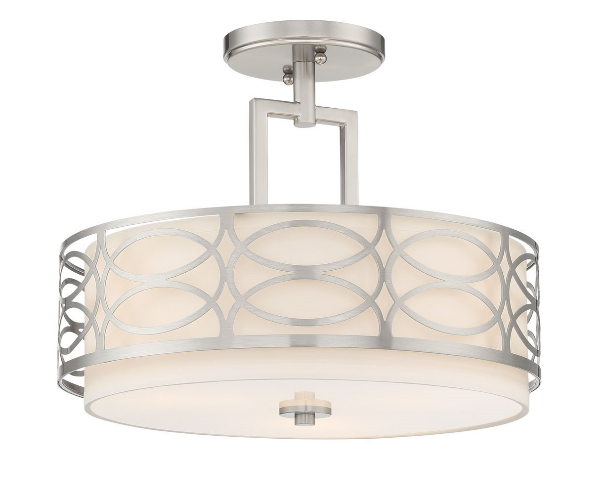 Kira Home Sienna 15'' 3-Light Semi Flush Mount Ceiling Light, White Fabric Shade + Glass Diffuser, Brushed Nickel Finish