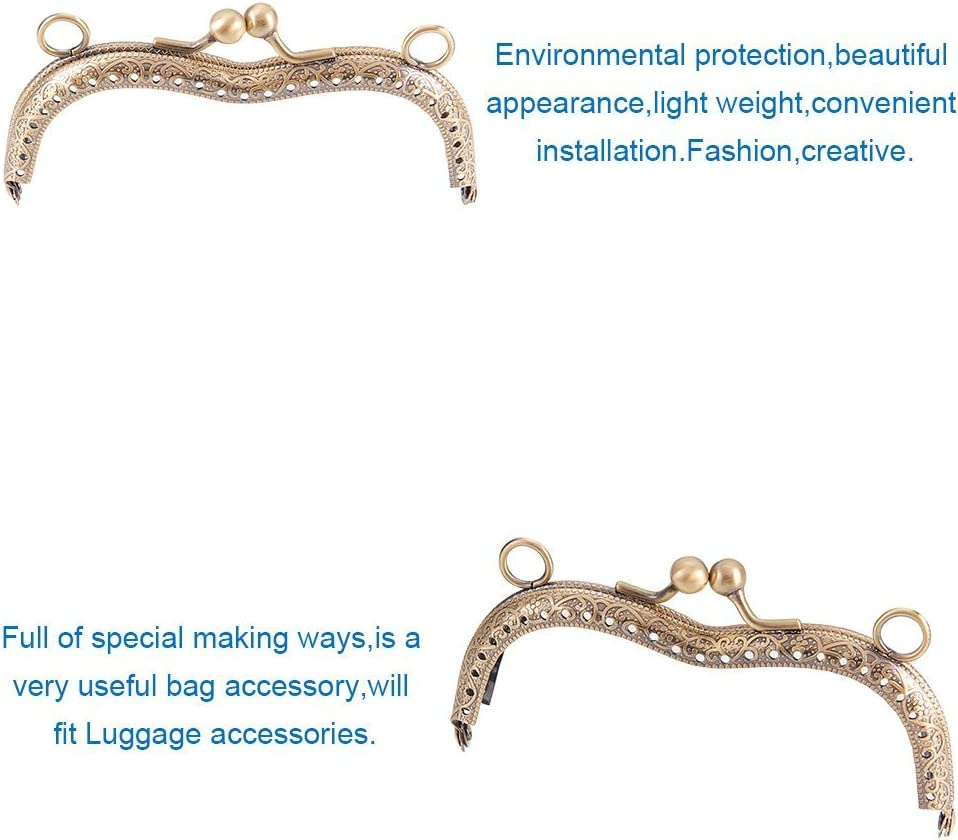 Pandahall Elite 2 pcs Antique Bronze /& Platinum Iron Purse Frame Handle Kiss Clasp Locks For Bags Sewing Craft Tailor Sewer Hole 1-8mm