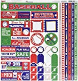 """Reminisce BSB-100 Baseball Cardstock Sticker, 12"""" by 12"""", Multicolor"""